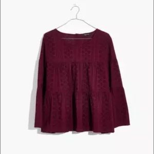 Madewell Maroon Eyelet Tiered Button Back Top Sz S
